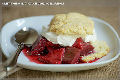 Wine Roasted Rhubarb & Strawberry Shortcake