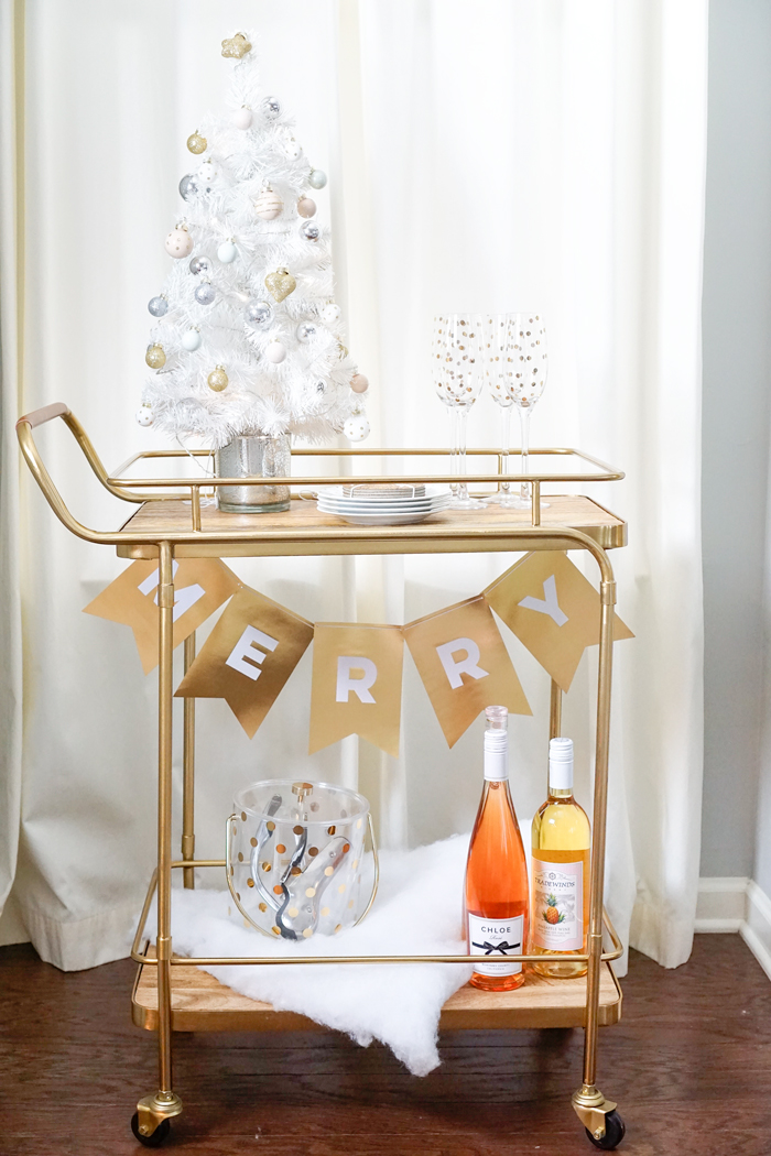 Christmas bar cart, holiday bar cart, strawberry chic bar cart, rose bar, gold bar cart