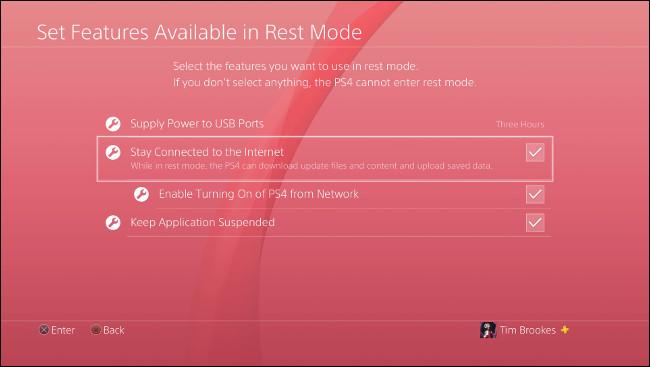 """قائمة """"تعيين الميزات المتوفرة في وضع الراحة"""" على PlayStation 4."""