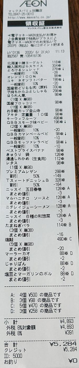 マックスバリュ 世羅店 2020/6/2 ■のレシート