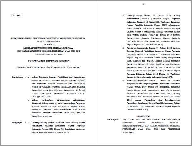Permendikbud Nomor 13 Tahun 2018 Tentang BANSM dan BAN PAUD dan PNF