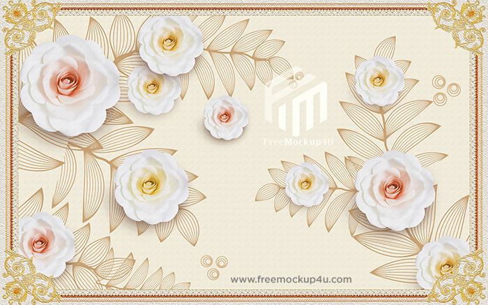 3D Simple Rose Flower TV Background Wall