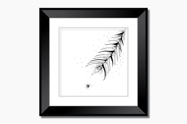 Tribal Feather Floral Ink Art