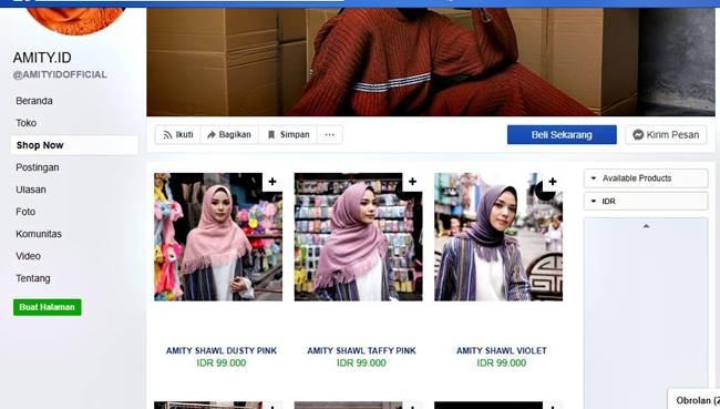 tampilan facebook store dari AVANA
