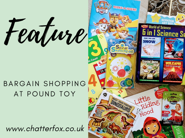 Image title reads feature bargain shopping at pound toy www.chatterfox.co.uk image to the right shows a collection of cheap fun and educational toys and books available from pound toy
