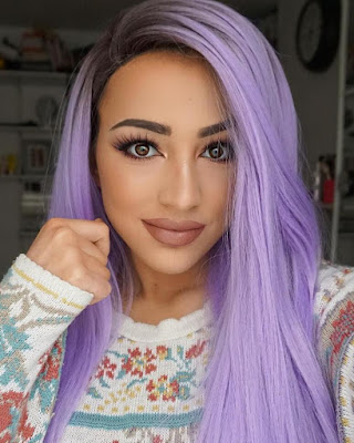 Black/Lavender Ombre Straight Synthetic Lace Front Wig