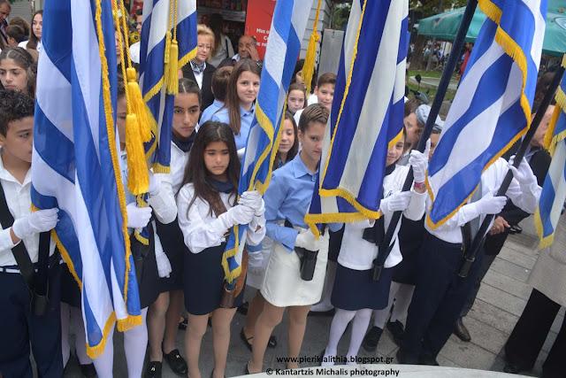Η κατάθεση στεφάνων στο άγαλμα της Ελευθερίας για την απελευθέρωση της Κατερίνης