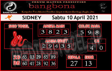 Prediksi Bangbona Sydney Sabtu 10 April 2021