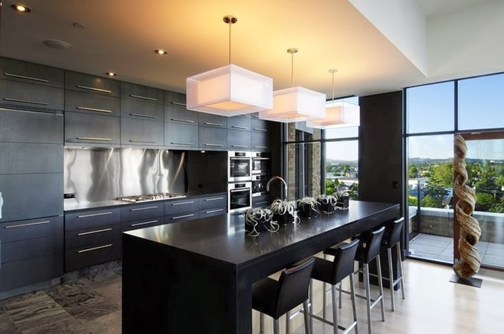 Large modern black kitchen