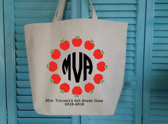 Do it yourself, DIY, teacher gift, tote bag, monogrammed