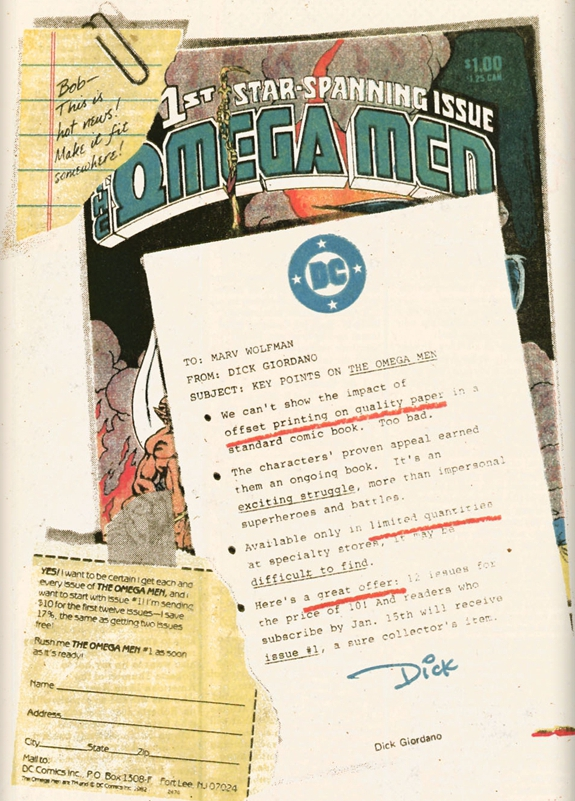 The Omega Men house ad (circa 1983). Property of DC comics.