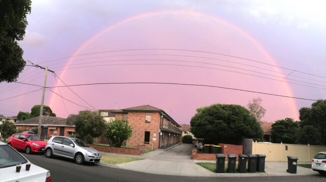 18 Pictures That Show How Nature Secretly Laughs At Us - A rainbow dome in Australia sky.