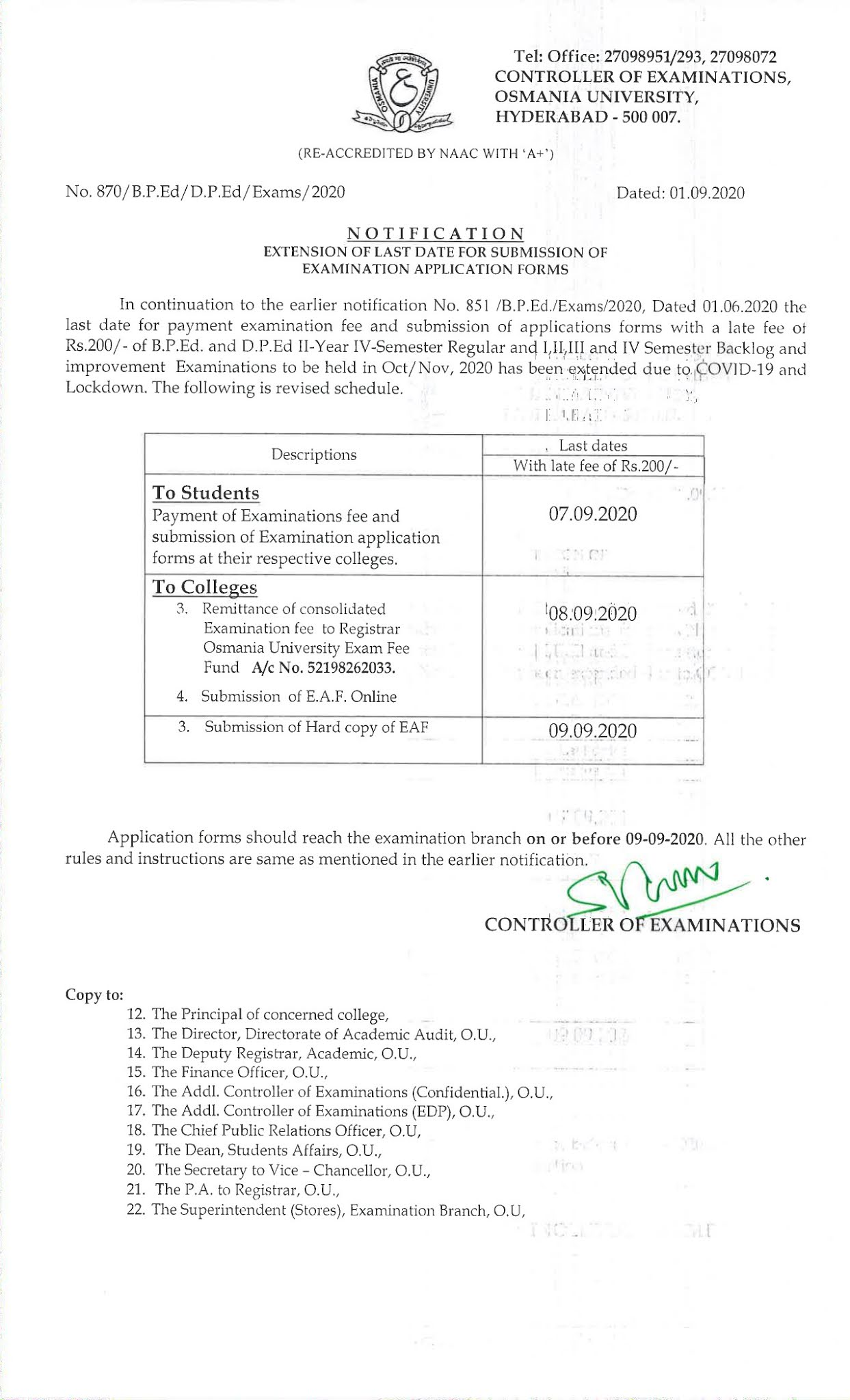 Osmania University BP.Ed & DP.Ed Oct 2020 Exam Fee Notification