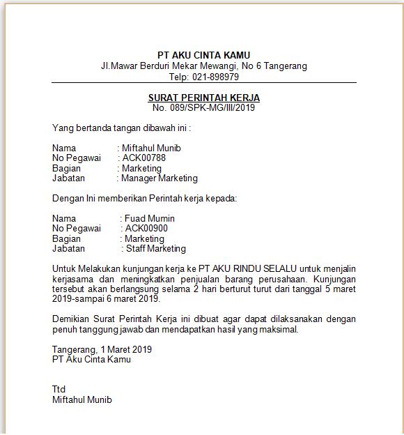 Contoh Surat Perintah Kerja dan Cara Membuat surat perintah kerja