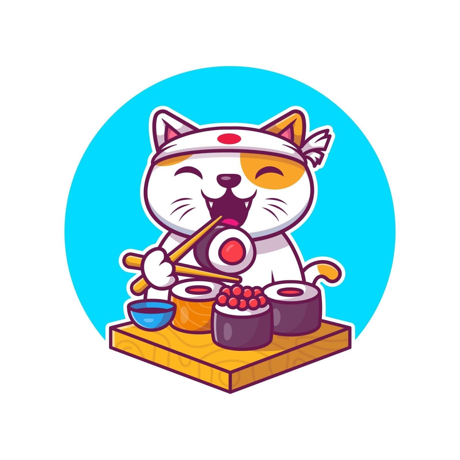 Compartilham sashimi com seu gato
