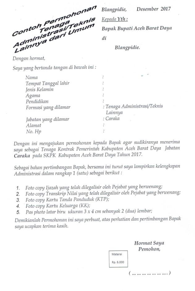 Contoh Surat Lamaran Kerja Tenaga Administrasi / Surat Lamaran Kerja Teknis