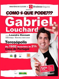 """Casa de Portugal apresenta """"Como é Que pode???"""" com Gabriel Louchard em Teresópolis"""
