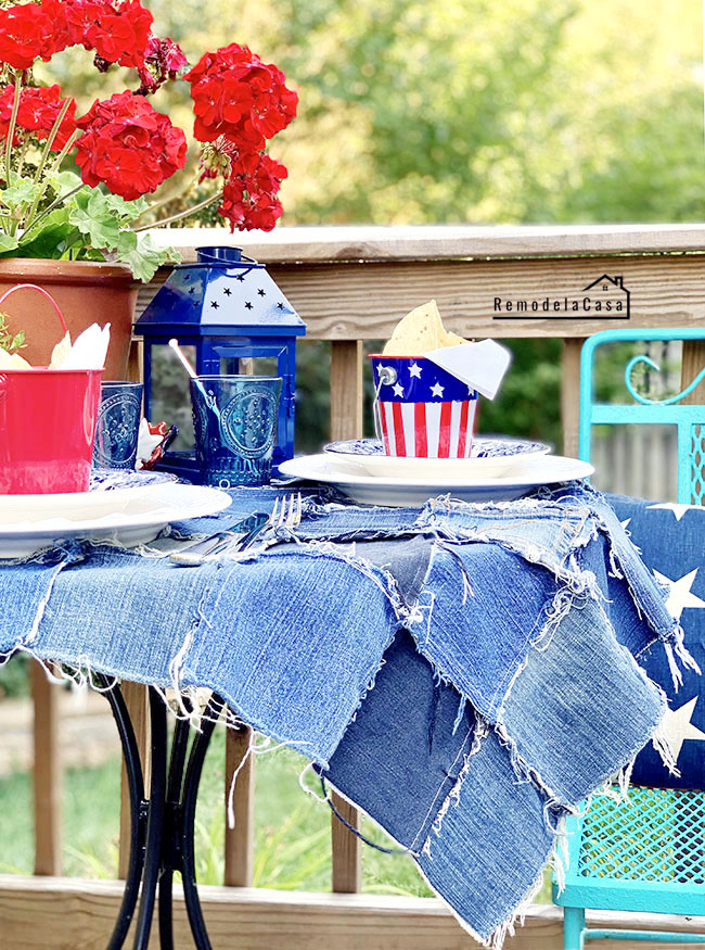 jean tablecloth - outdoor red white and blue table