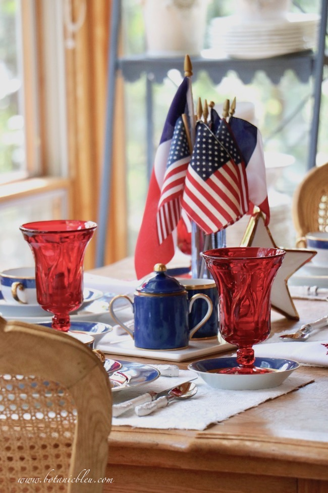 Labor Day patriotic French Country table setting with American flags centerpiece
