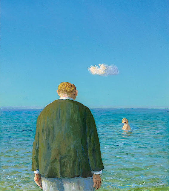 Michael Sowa, a man meets a swimming smiling woman