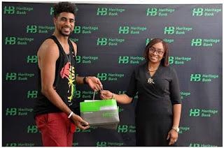 #BBNaija: Heritage Bank Hosts Ex-#BBNaija Housemate, Thin Tall Tony, Presents Him With Gifts (Photos)