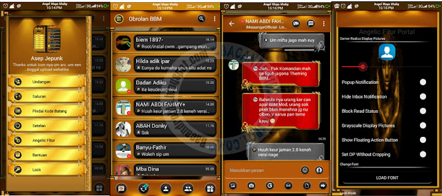 BBM Mod Black Gold Angelic Theme v3.1.0.13 Apk Terbaru For Android
