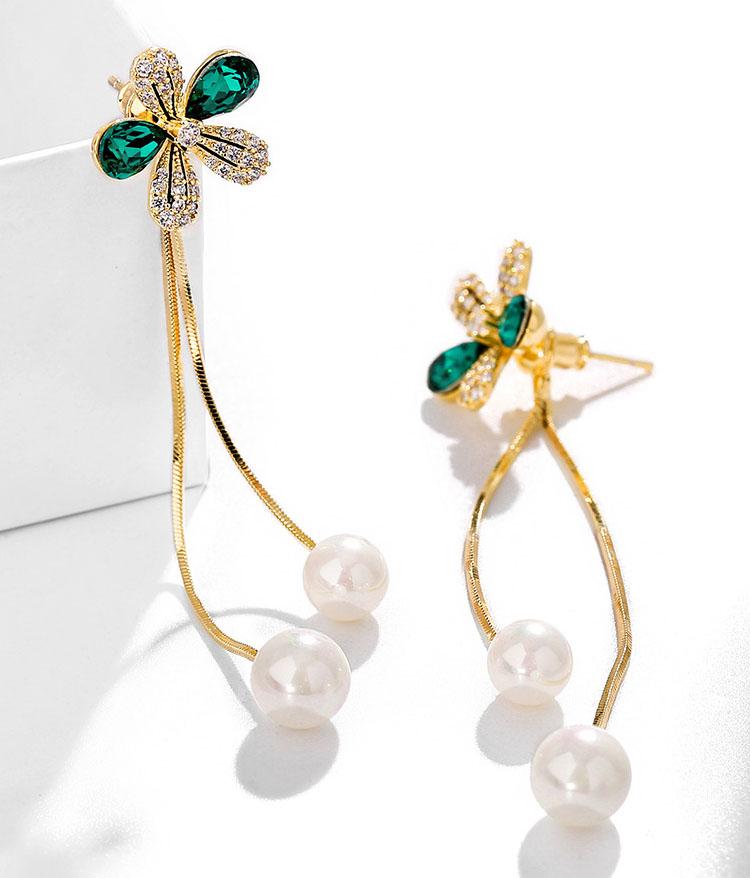 多造型綠金小花鋯石耳環