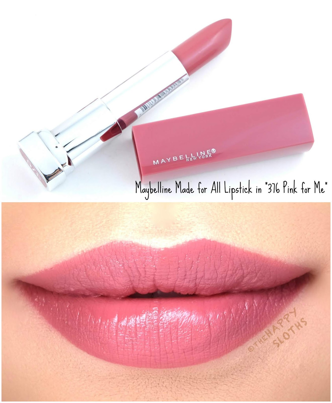 "Maybelline | Made for All Lipstick by Color Sensational in ""376 Pink for Me"": Review and Swatches"