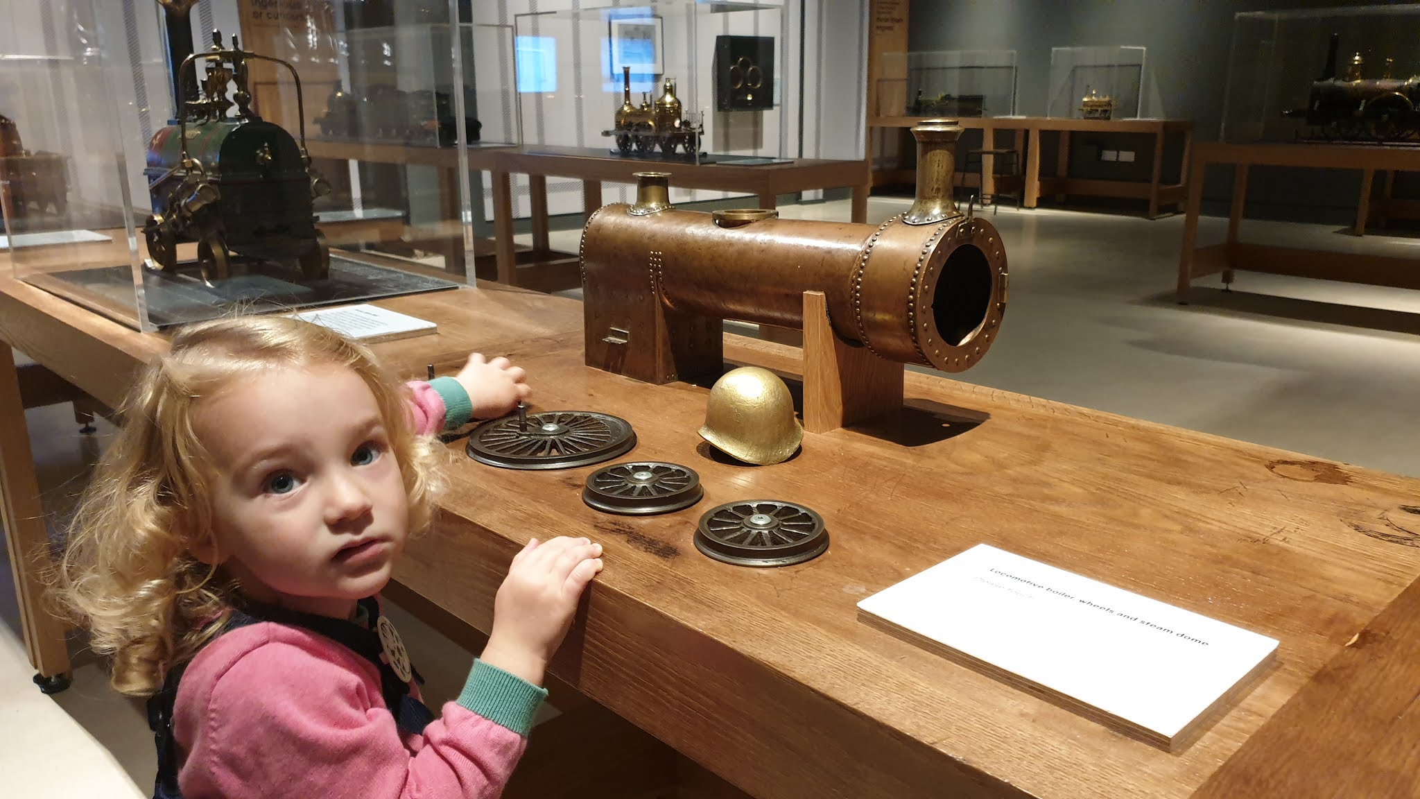 kids at brass steel and fire exhibition