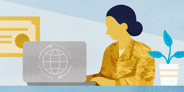 A graphic of a woman sitting at a desk with a laptop