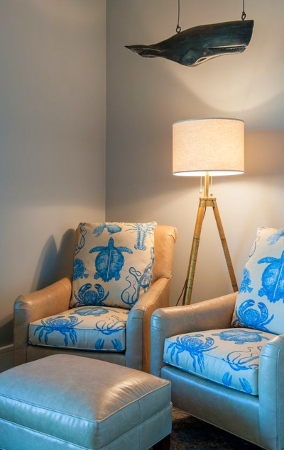Blue Sea Life Fabric Upholstered Chairs