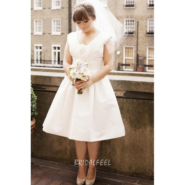 Ivory V Neck Plus Size Bridal Dress