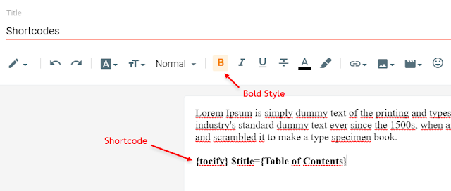 Table of content support in colorify blogger theme