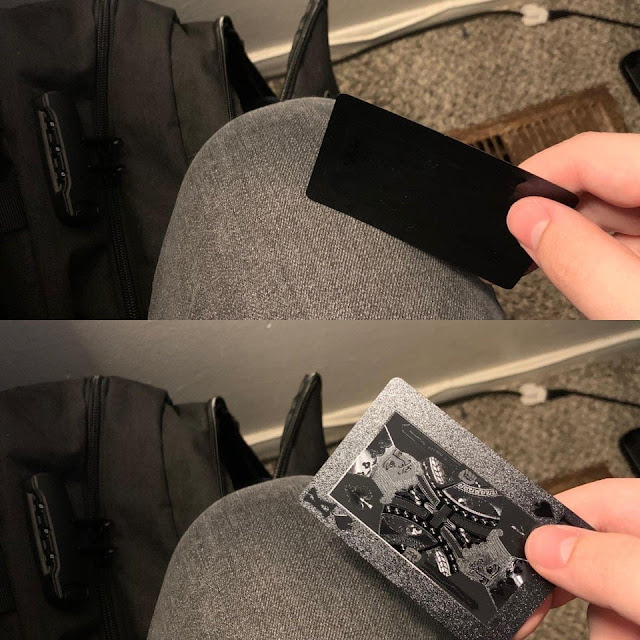 New playing cards that are matte black. Unless you're looking directly at the card, its basically impossible to see what they are.