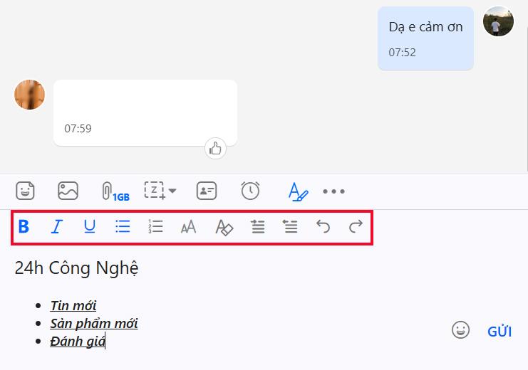 Mẹo đổi kiểu chữ khi nhắn tin trên Zalo máy tính