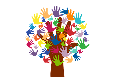 Cartoon tree with leaves made of coloured hands