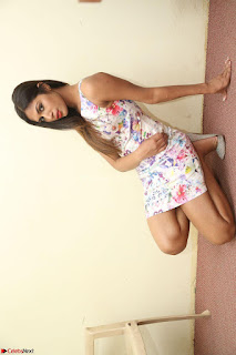 Nishi Ganda stunning cute in Flower Print short dress at Tick Tack Movie Press Meet March 2017 079.JPG