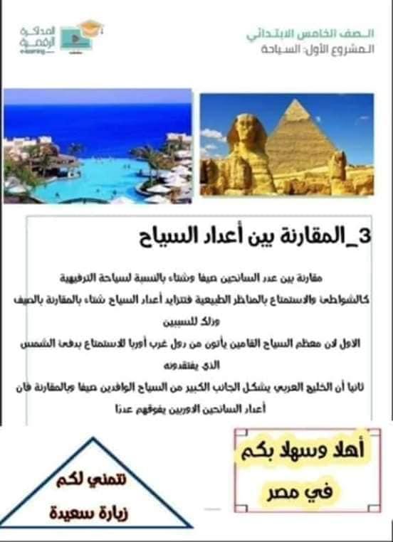 3 أبحاث عن الماء و السياحة والطاقة للصف الخامس الابتدائي 9