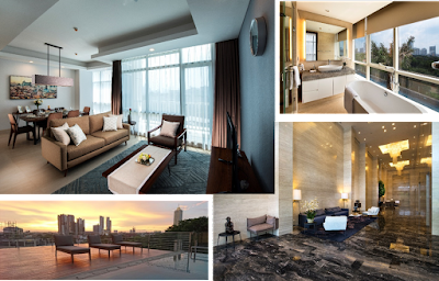 Source: Oakwood Asia Pacific. Clockwise from top left : Oakwood Suites La Maison Jakarta's three-bedroom apartment, bathroom, lobby, and swimming pool.