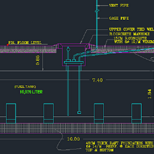 Fuel tank autocad structural and architectural details dwg