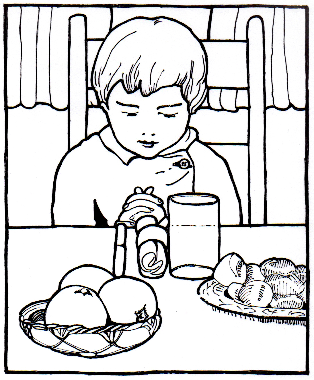 coloring pages about prayer - pray before eating coloring pages to print