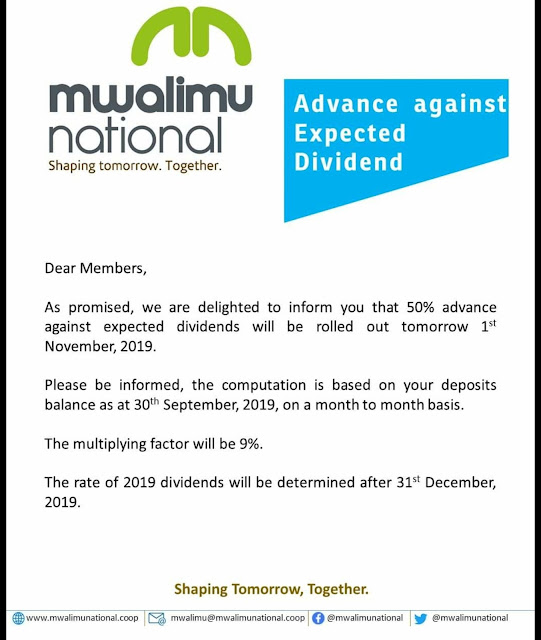Mwalimu National sacco addressed members on matters concerning dividends