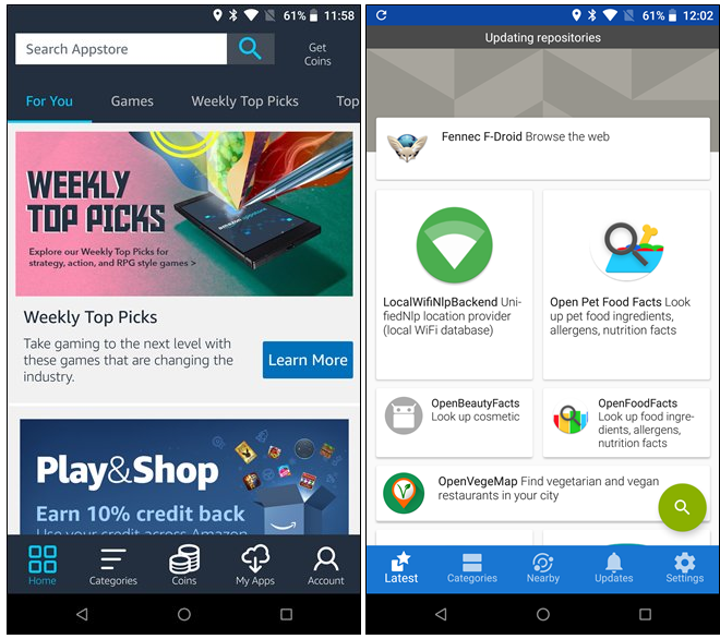 Usare Android senza Google con Amazzon AppStore e F-Droid