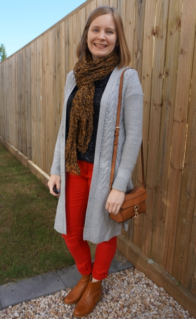 grey maxi cardigan with red skinny jeans black tee tan scarf ankle boots and bag RM MAB camera SAHM style | awayfromblue