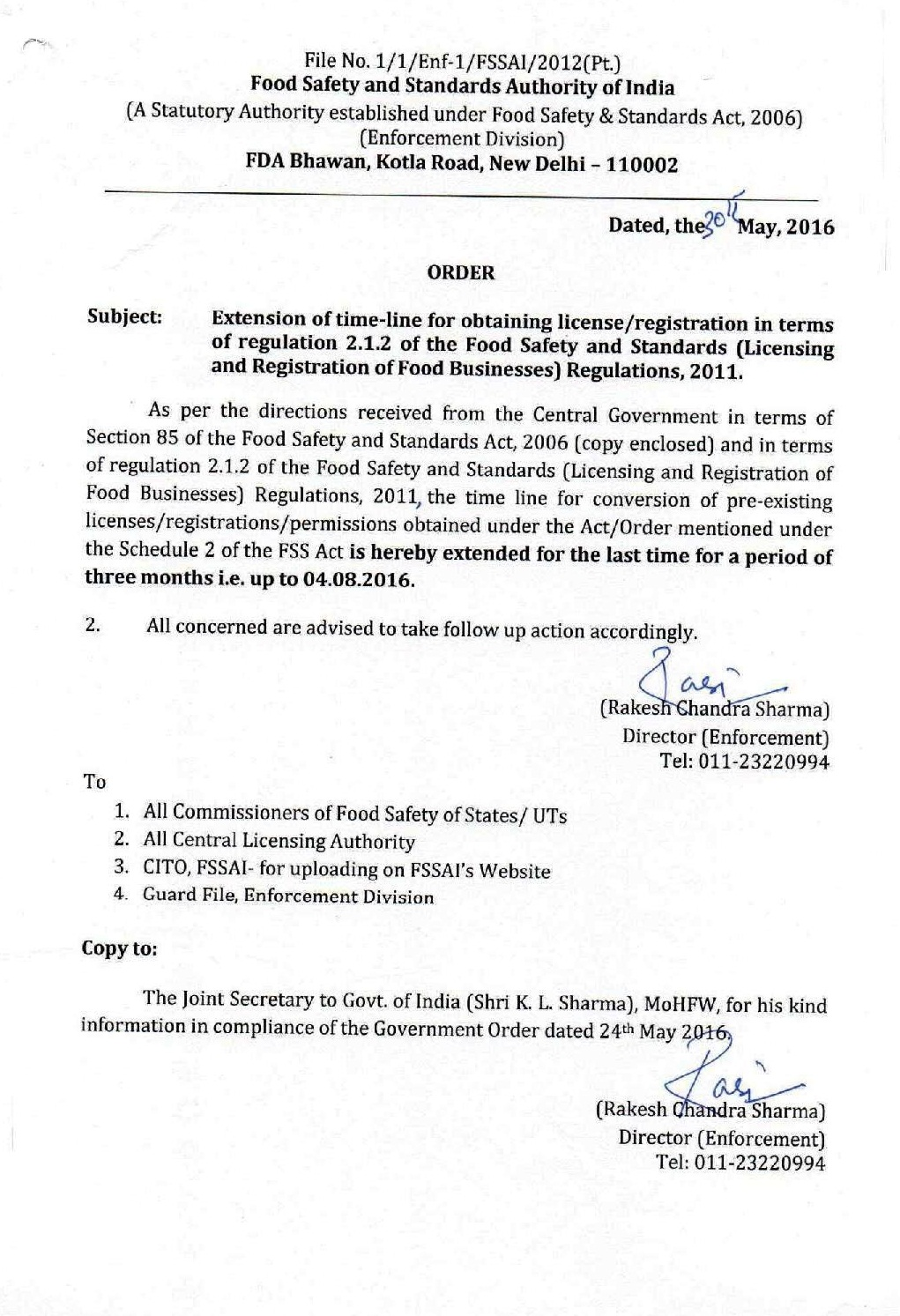 food safety latest  fssai order on extension of timeline for obtaining license registration last time upto 4 8 2016