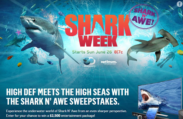 The Discovery Channel and Optimum are celebrating Shark Week by offering you a chance to enter daily to win a whole house worth of electronics to make your home theater dreams come true!