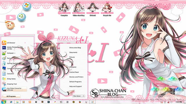 Kizuna AI Theme Win 7 by Enji Riz Lazuardi