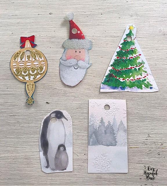 six Christmas gift tags