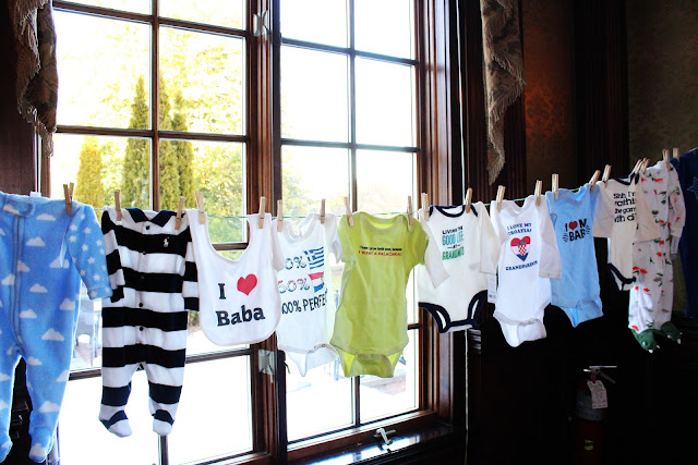 Infant clothing on a clothesline