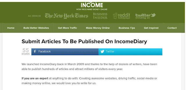 Income diary.com :   এই ওয়েবসাইটে শুধুমাত্র একটি আর্টিকেল সাবমিশন করে আপনি 200 ডলার পর্যন্ত ইনকাম করতে পারেন।